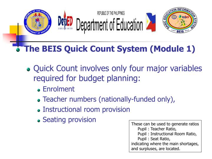 The BEIS Quick Count System (Module 1)