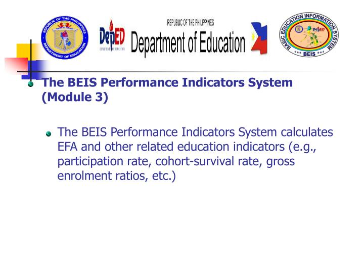 The BEIS Performance Indicators System (Module 3)