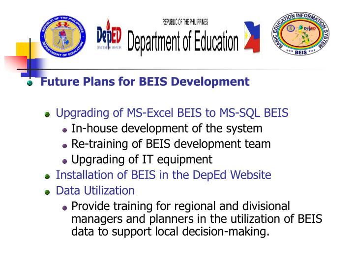Future Plans for BEIS Development