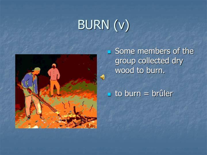 BURN (v)