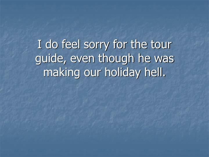 I do feel sorry for the tour guide, even though he was making our holiday hell.