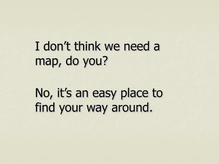 I don't think we need a map, do you?