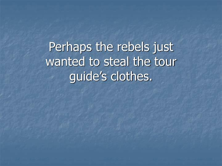 Perhaps the rebels just wanted to steal the tour guide's clothes.