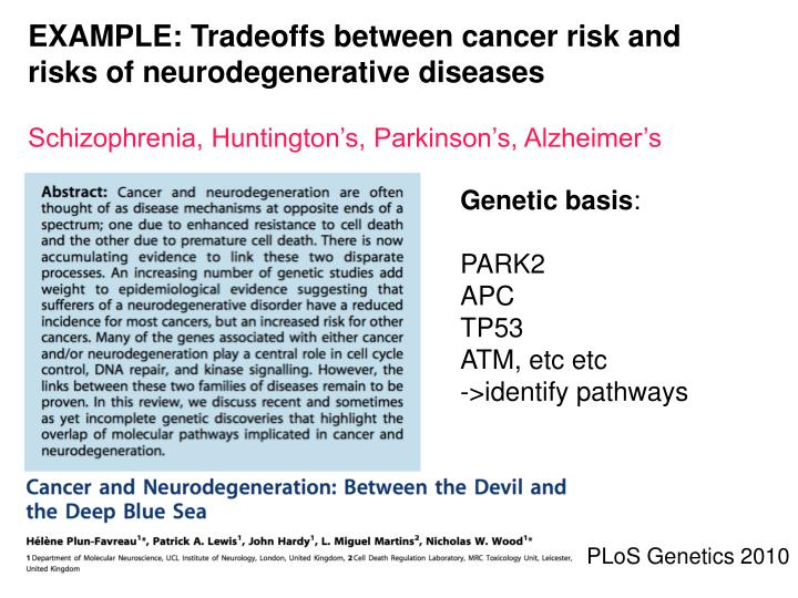 EXAMPLE: Tradeoffs between cancer risk and