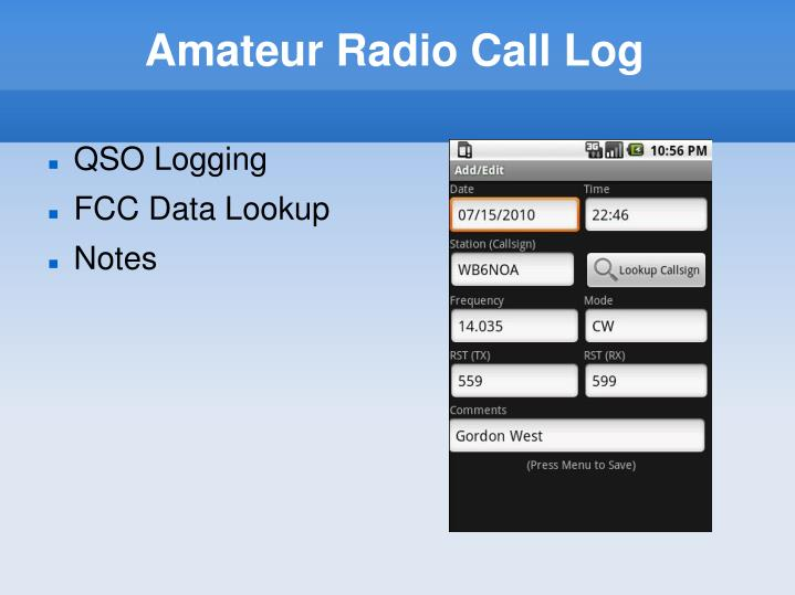 Amateur Radio Call Log