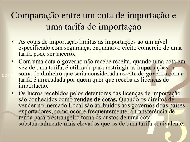 Comparação entre um cota de importação e uma tarifa de importação