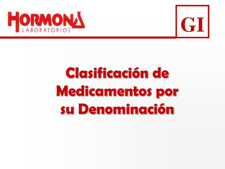 Clasificación de Medicamentos por