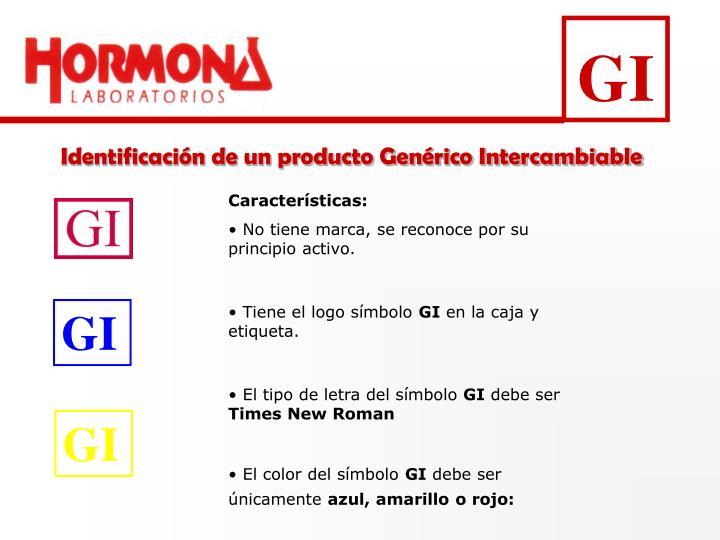 Identificación de un producto Genérico Intercambiable
