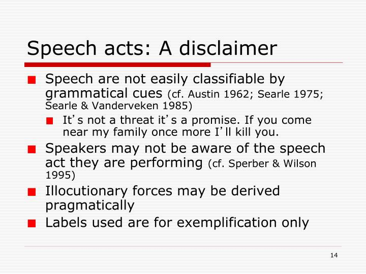 Speech acts: A disclaimer