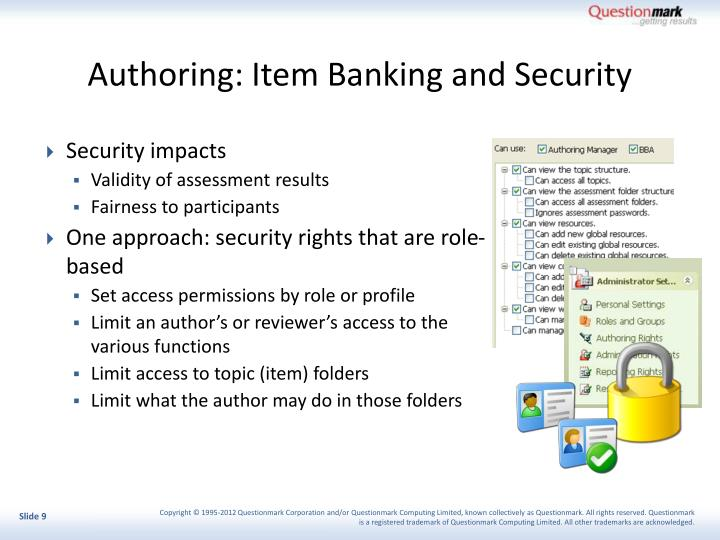 Authoring: Item Banking and Security