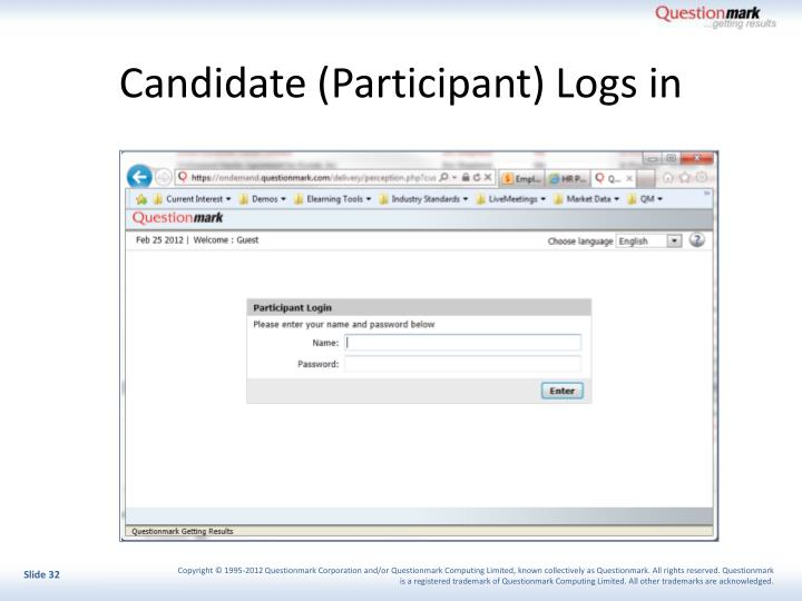Candidate (Participant) Logs in