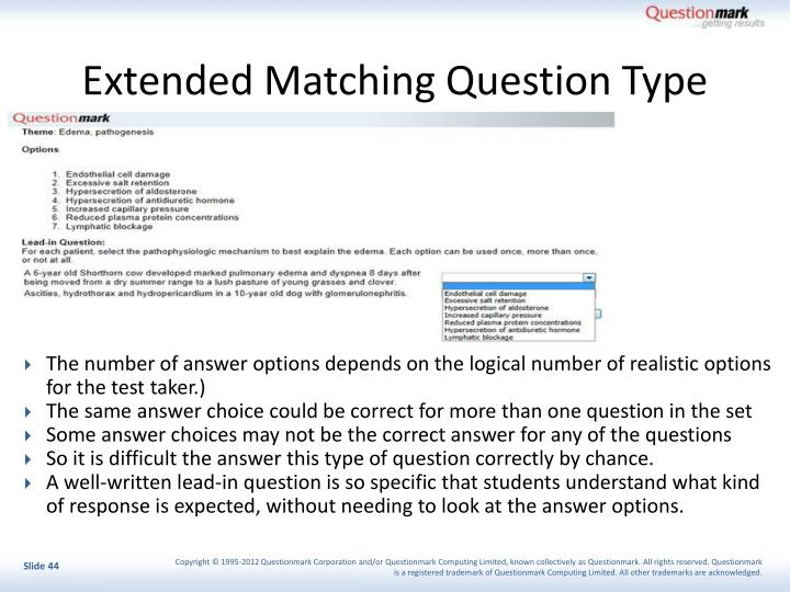 Extended Matching Question Type