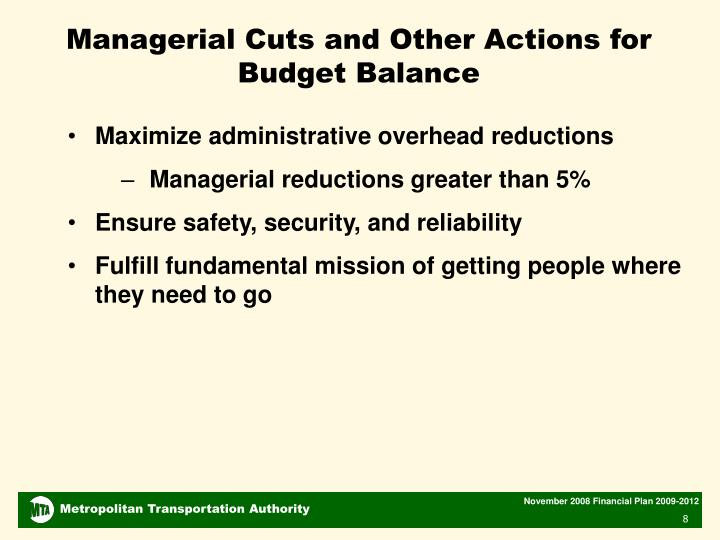 Managerial Cuts and Other Actions for Budget Balance