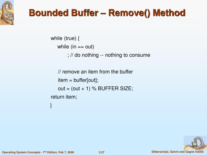 Bounded Buffer – Remove() Method