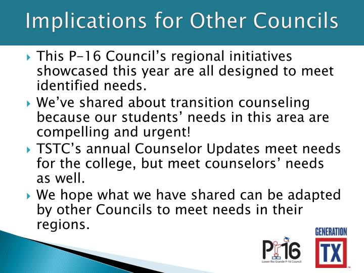 Implications for Other Councils