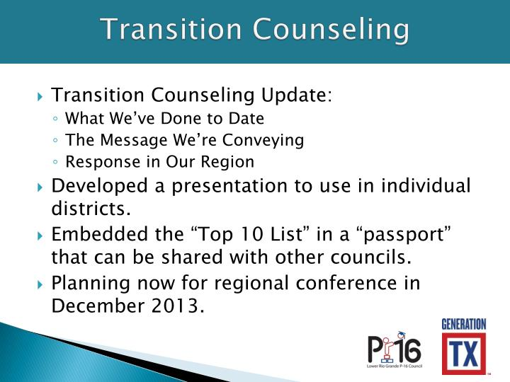 Transition counseling