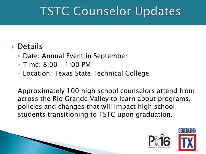 TSTC Counselor Updates