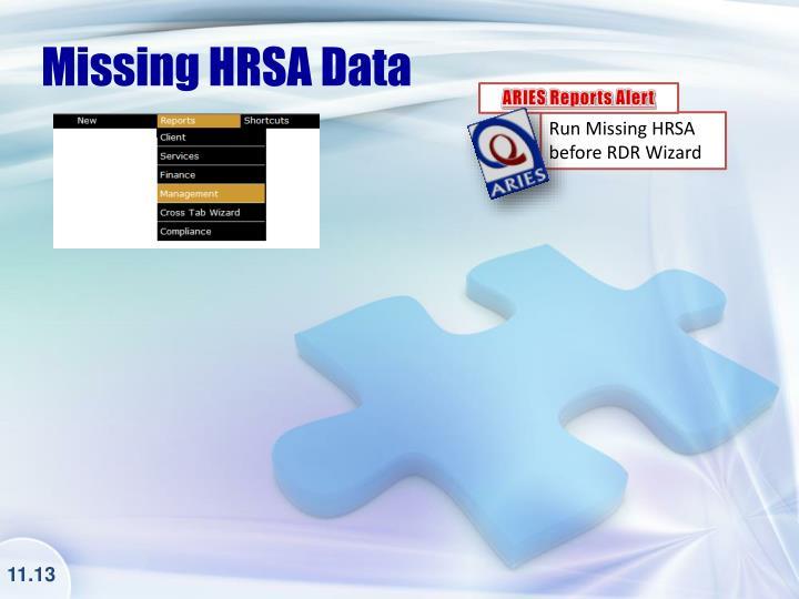 Missing HRSA Data