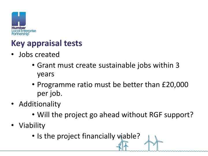 Key appraisal tests