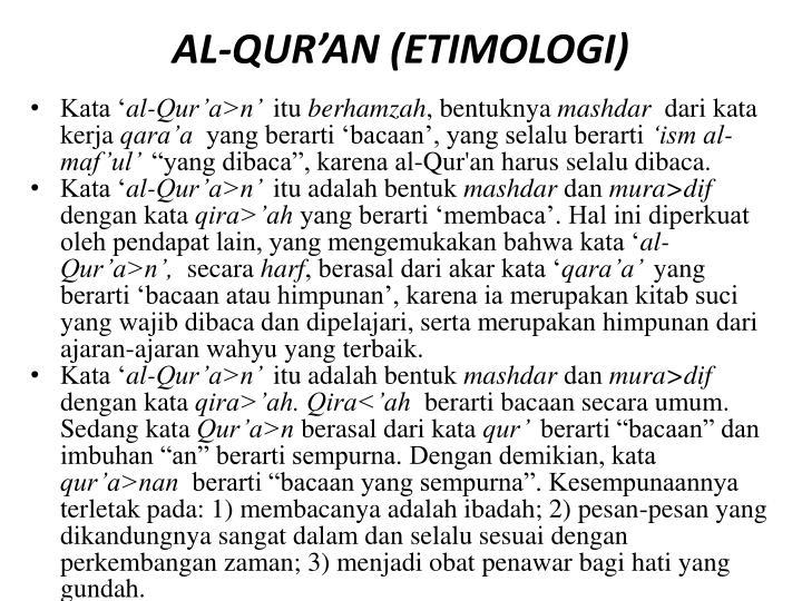 AL-QUR'AN (ETIMOLOGI)