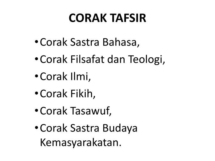 CORAK TAFSIR