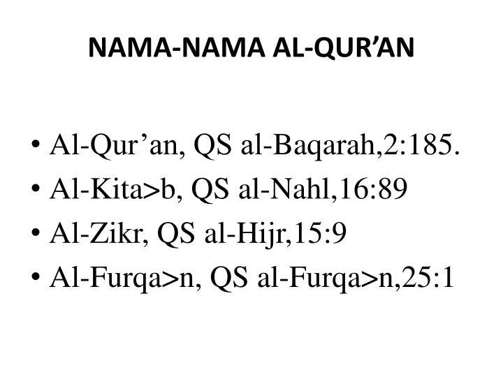 NAMA-NAMA AL-QUR'AN