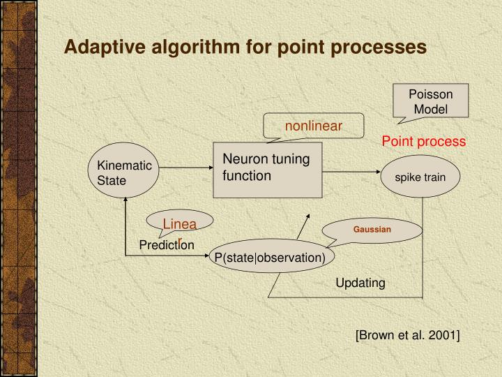 Adaptive algorithm for point processes