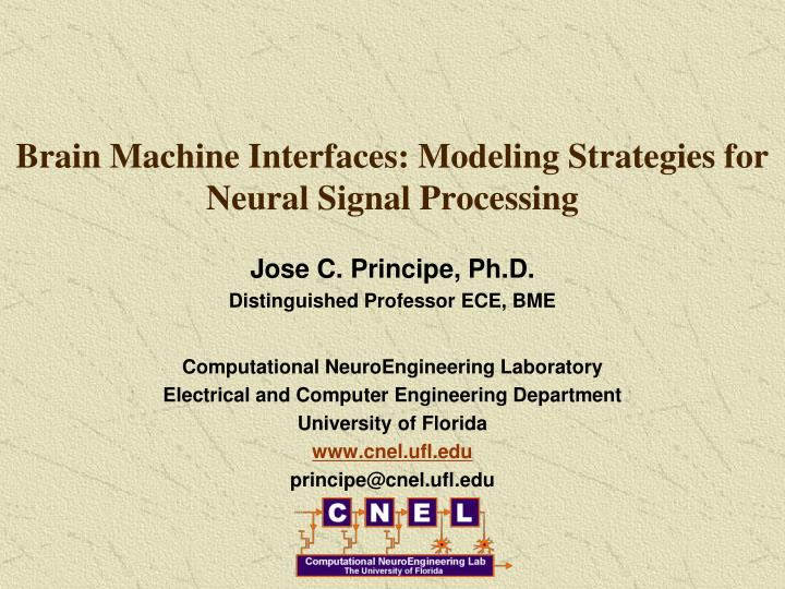 Brain Machine Interfaces: Modeling Strategies for Neural Signal Processing