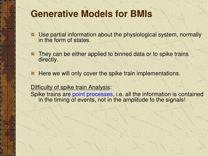 Generative Models for BMIs