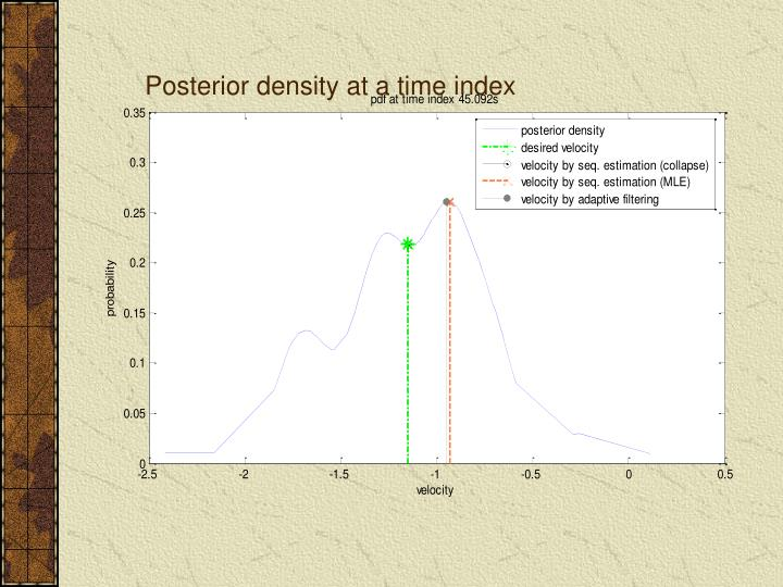 Posterior density at a time index