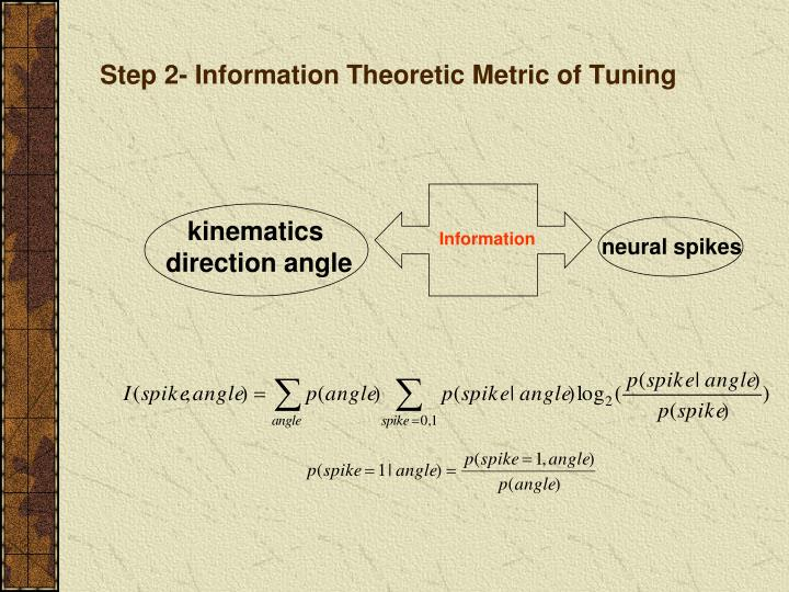 Step 2- Information Theoretic Metric of Tuning