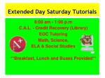 extended day saturday tutorials