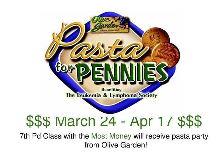 $$$ March 24 - Apr 17 $$$