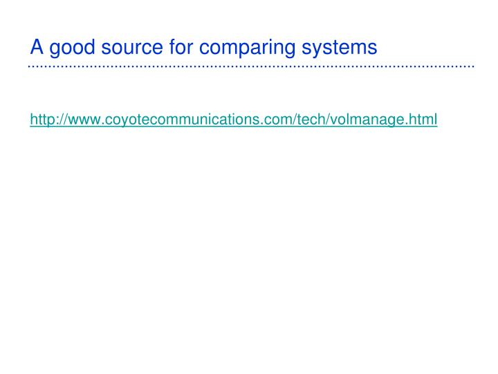 A good source for comparing systems