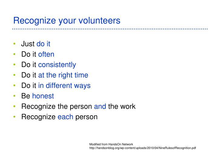 Recognize your volunteers