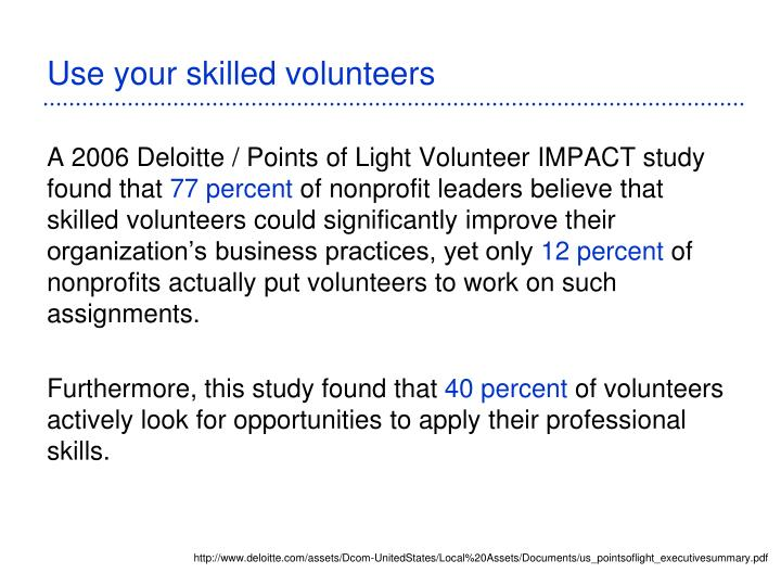Use your skilled volunteers