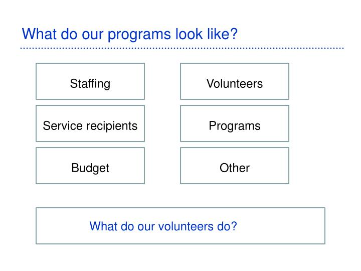 What do our programs look like?