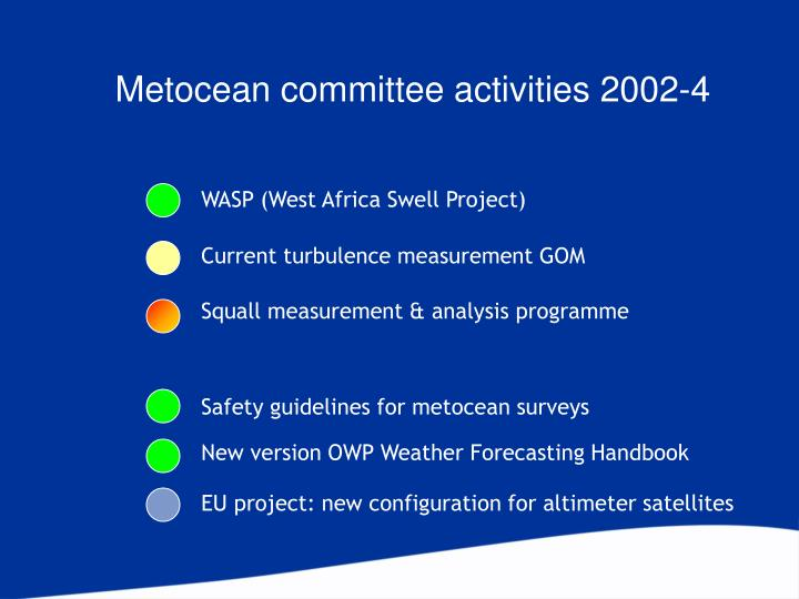 Metocean committee activities 2002-4