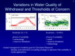 variations in water quality of withdrawal and thresholds of concern