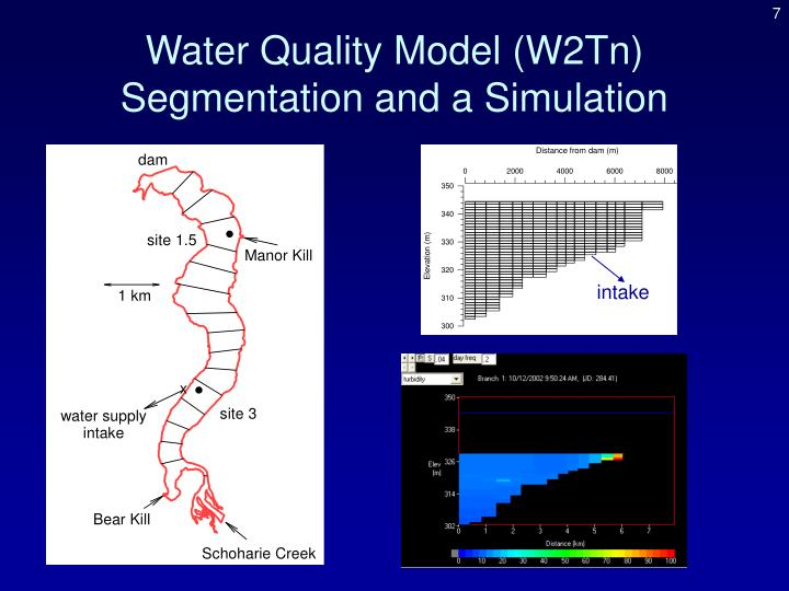 Water Quality Model (W2Tn) Segmentation and a Simulation