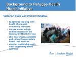 background to refugee health nurse initiative