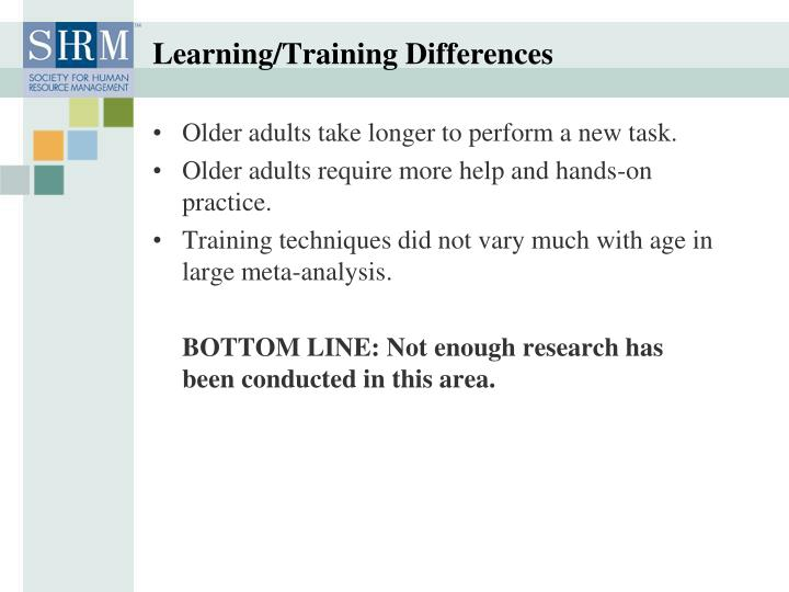 Learning/Training Differences