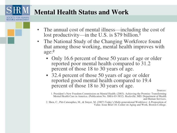 Mental Health Status and Work