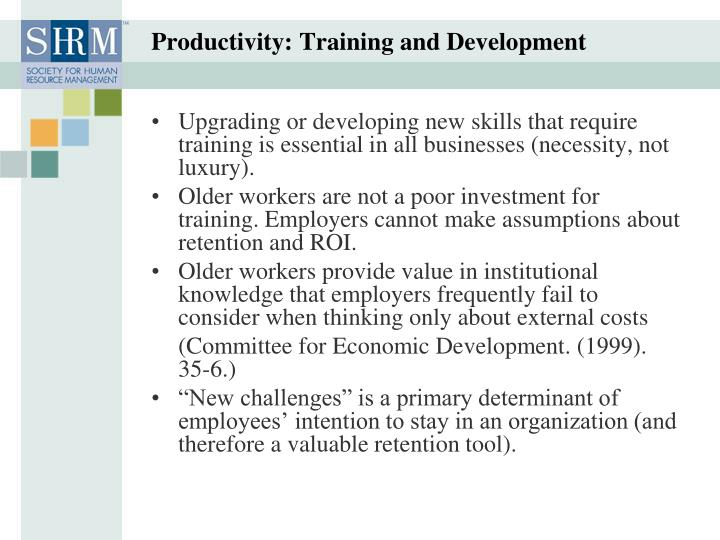 Productivity: Training and Development