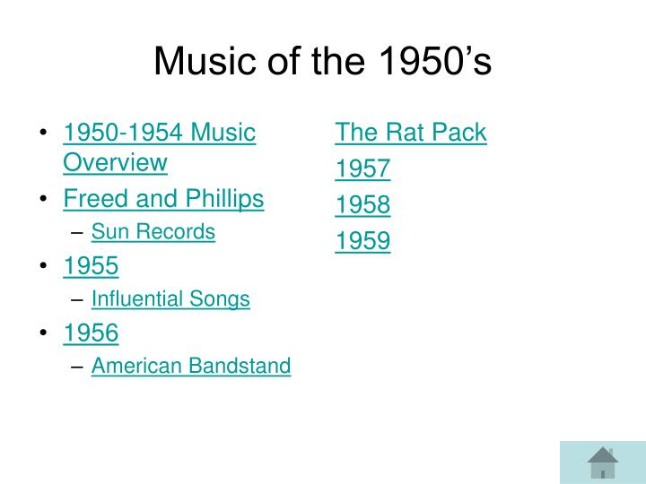 1950-1954 Music Overview