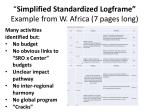 simplified standardized logframe example from w africa 7 pages long