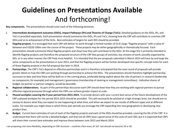 Guidelines on Presentations Available
