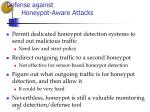 defense against honeypot aware attacks