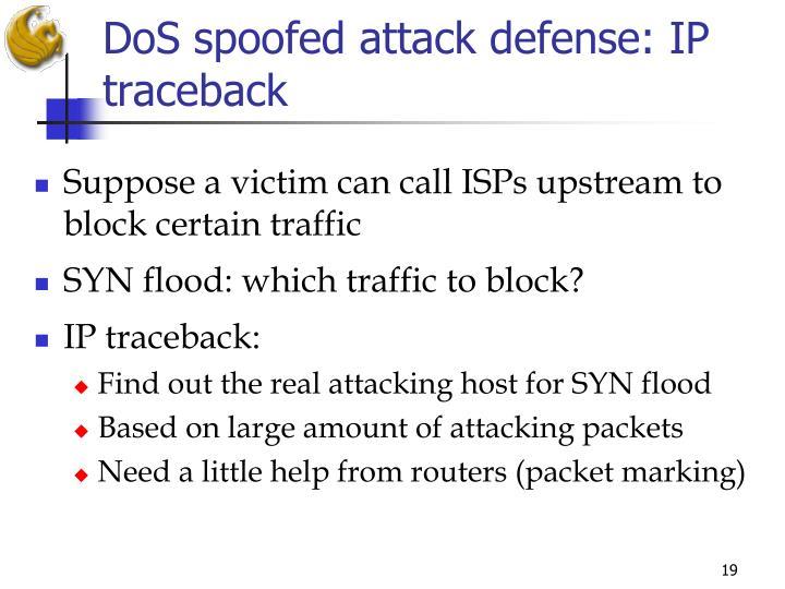 DoS spoofed attack defense: IP traceback