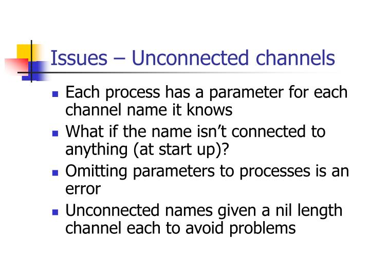 Issues – Unconnected channels